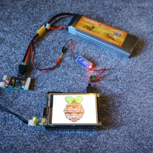 5500 mAh LiPo battery powering Raspberry Pi 2 and Robotis hardware.